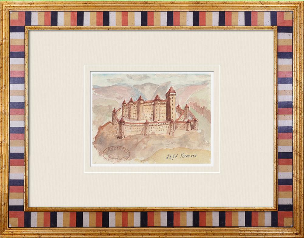 Gravures Anciennes & Dessins   Château de Beseno - Trentin - Italie (Henriette Quillier)   Aquarelle   1960