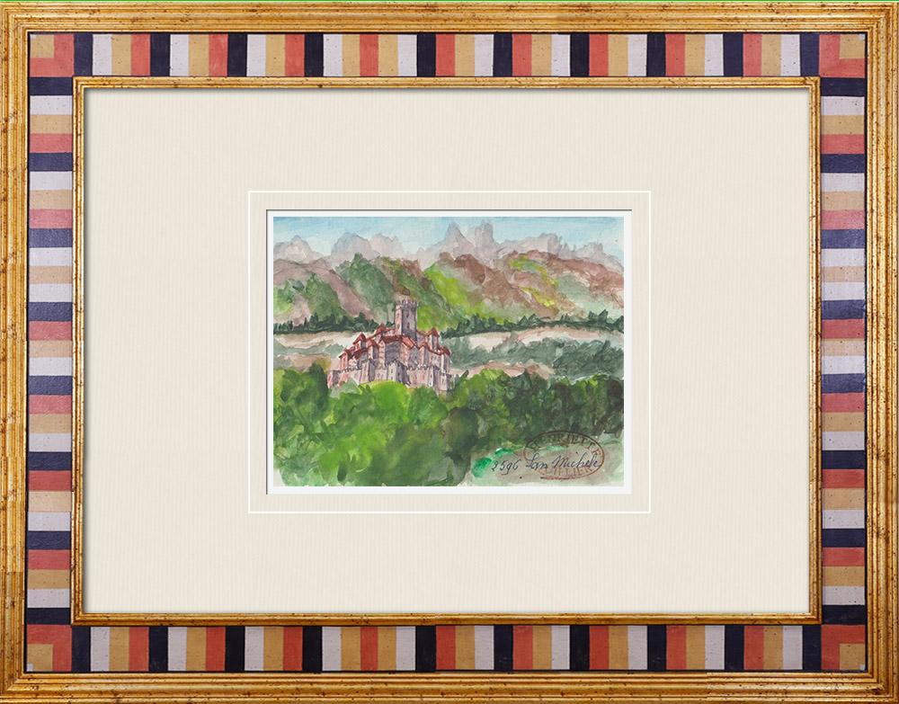 Gravures Anciennes & Dessins | Château - Castello di San Michele - Trentin - Italie (Henriette Quillier) | Aquarelle | 1960