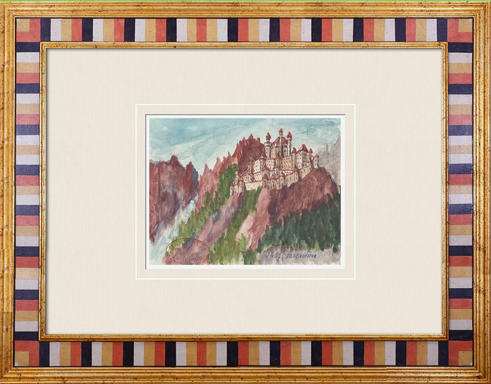 Gravures Anciennes & Dessins   Vue de Sarentino - Château - Castel Regino - Trentin - Italie (Henriette Quillier)   Aquarelle   1960