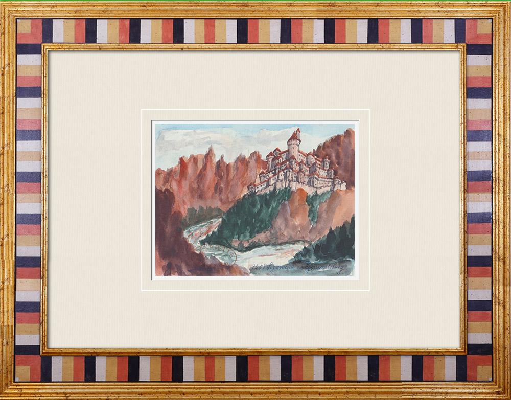 Gravures Anciennes & Dessins | Château Firmiano - Tyrol du Sud - Haut-Adige - Italie (Henriette Quillier) | Aquarelle | 1960