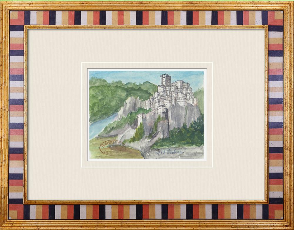 Gravures Anciennes & Dessins   Château fort - Rocca di Pierle - Cortone - Arezzo - Toscane - Italie (Henriette Quillier)   Aquarelle   1960