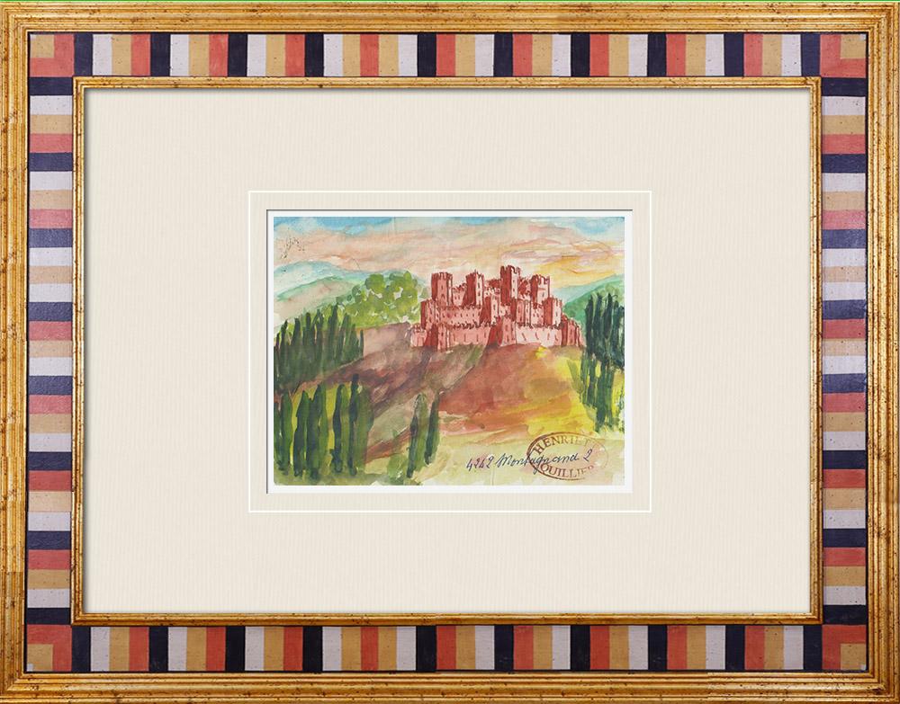 Gravures Anciennes & Dessins | Château de Saint Zeno - Montagnana - Vénétie - Italie (Henriette Quillier) | Aquarelle | 1960