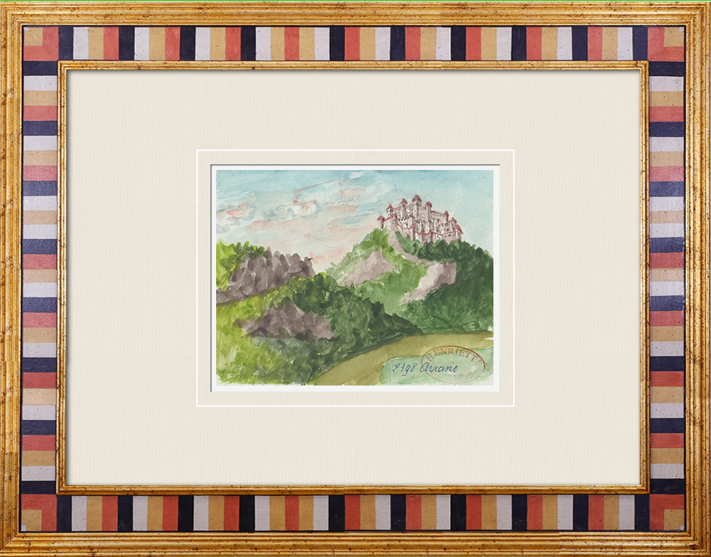 Gravures Anciennes & Dessins | Château - Castello di Aviano - Vénétie - Italie (Henriette Quillier) | Aquarelle | 1960