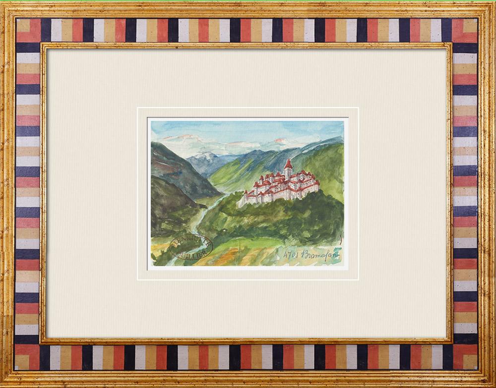 Gravures Anciennes & Dessins | Vue de Aoste - Vallée d'Aoste - Château de Bramafam - Italie (Henriette Quillier) | Aquarelle | 1960