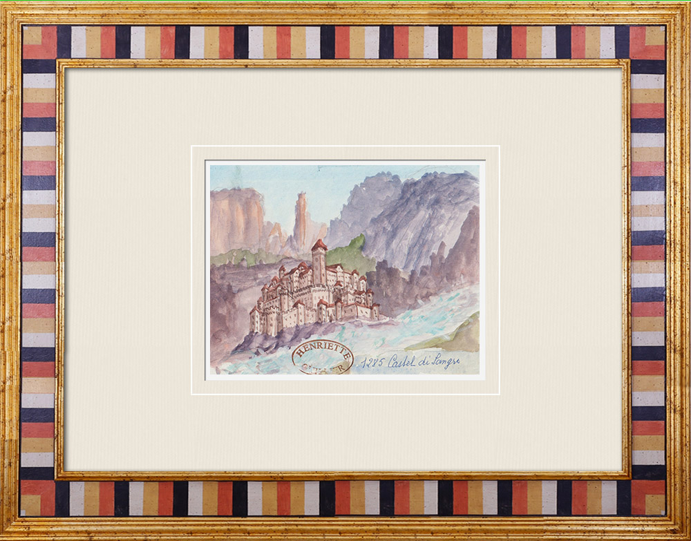 Antique Prints & Drawings | Imaginary Castle in Castel di Sangro - Aquila - Abruzzo - Italy (Henriette Quillier) | Watercolor painting | 1960