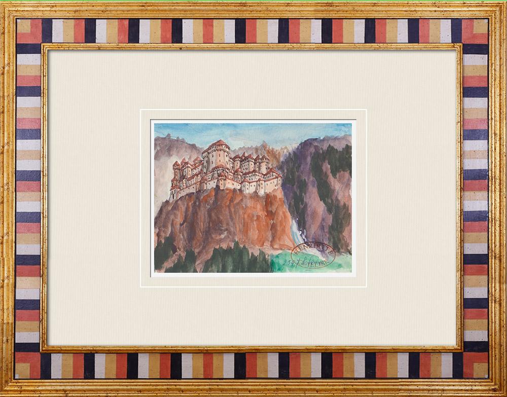 Gravures Anciennes & Dessins | Château imaginaire - Schener - Tyrol du Sud - Haut-Adige - Italie (Henriette Quillier) | Aquarelle | 1960