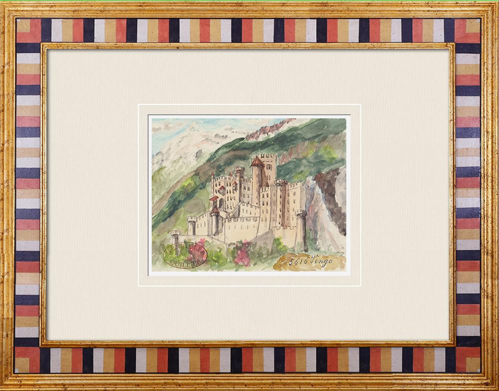 Gravures Anciennes & Dessins | Château imaginaire - Vengo - Piémont - Italie (Henriette Quillier) | Aquarelle | 1960