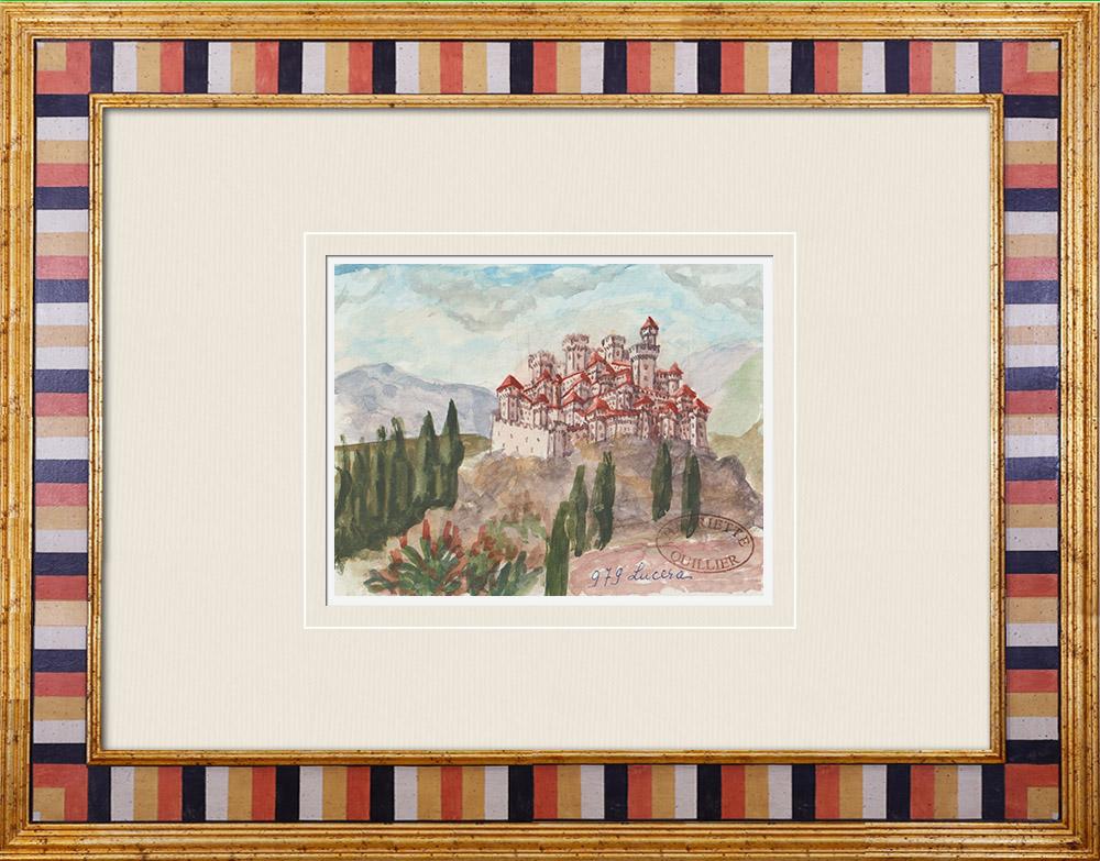 Gravures Anciennes & Dessins   Château imaginaire - Lucera - Château - Amphithéâtre Romain - Pouilles - Italie (Henriette Quillier)   Aquarelle   1960