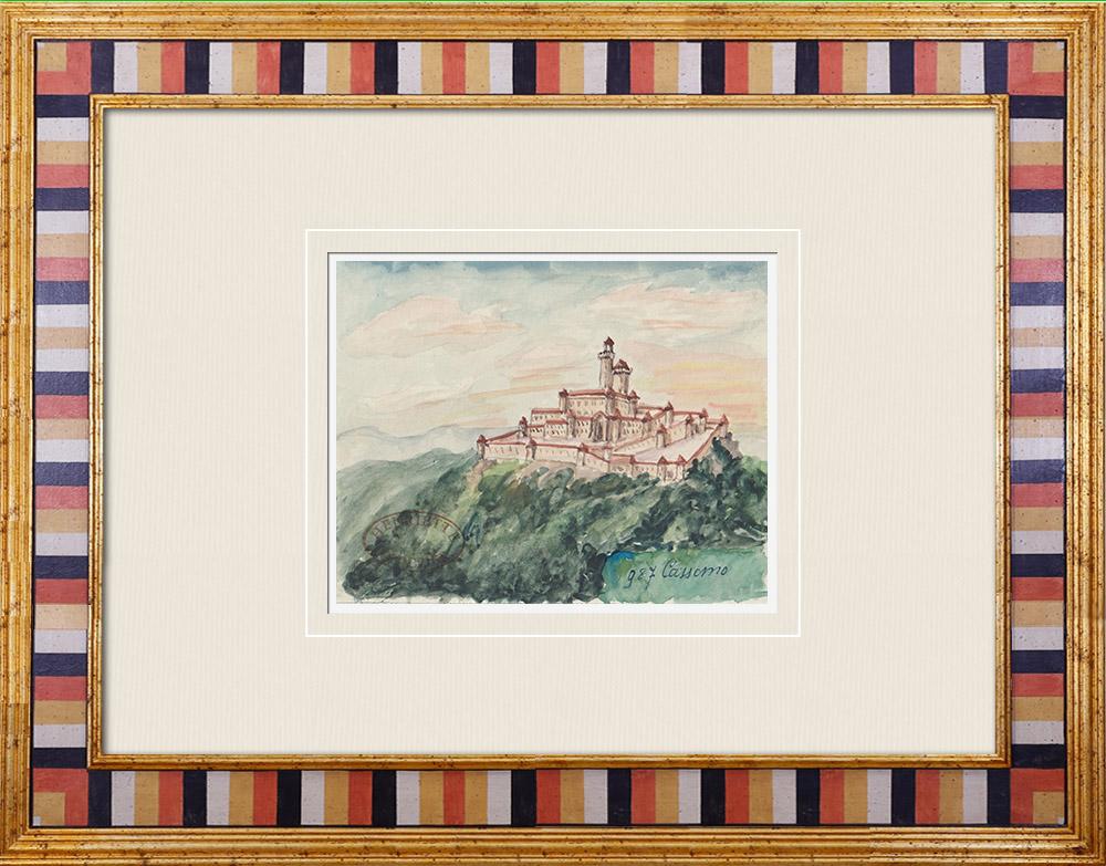 Gravures Anciennes & Dessins   Château imaginaire - Cassano - Bari - Pouilles - Italie (Henriette Quillier)   Aquarelle   1960