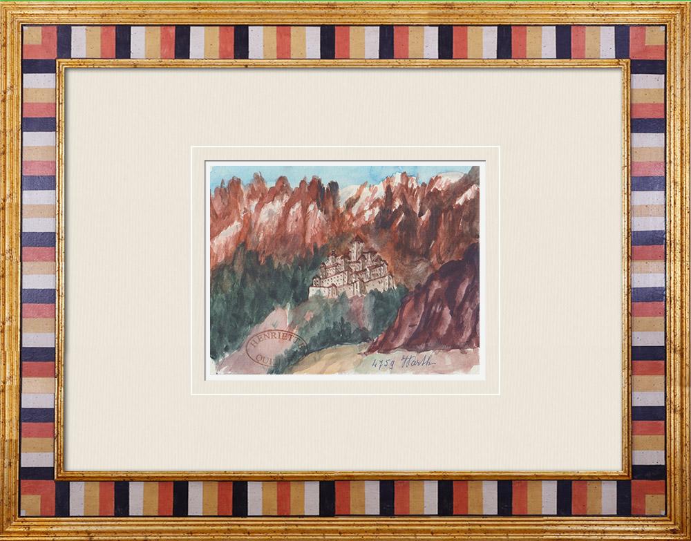 Gravures Anciennes & Dessins | Château imaginaire - Schloss Warth - Bolsano - Sud-Tyrol - Italie (Henriette Quillier) | Aquarelle | 1960
