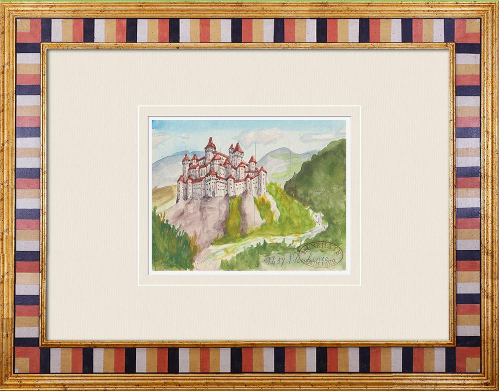 Gravures Anciennes & Dessins | Château imaginaire - Plouhinec - Morbihan - France (Henriette Quillier) | Aquarelle | 1960