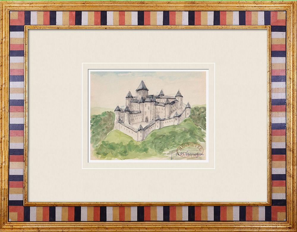 Gravures Anciennes & Dessins | Château imaginaire - Château de Tremazan à Landunvez - Finistère - France (Henriette Quillier) | Aquarelle | 1960