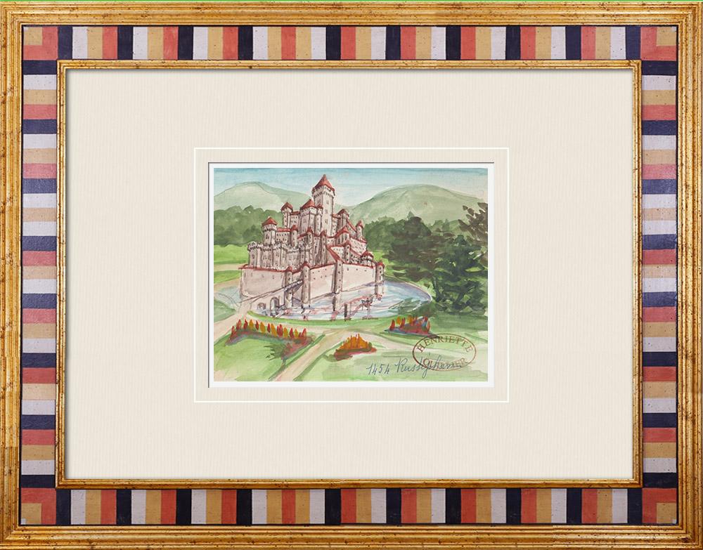Gravures Anciennes & Dessins   Château imaginaire - Château de Rustéphan - Finistère - France (Henriette Quillier)   Aquarelle   1960