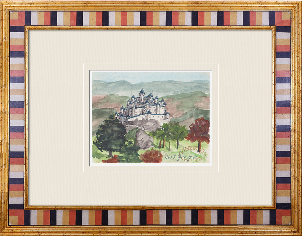 Gravures Anciennes & Dessins | Château imaginaire - Guengat - Finistère - France (Henriette Quillier) | Aquarelle | 1960