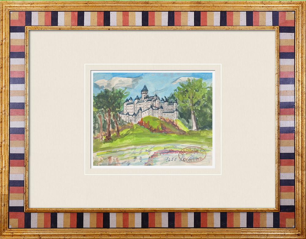 Gravures Anciennes & Dessins | Château imaginaire - La Roche-Guéhennec à Mûr-de-Bretagne - Côtes-d'Armor - France (Henriette Quillier) | Aquarelle | 1960
