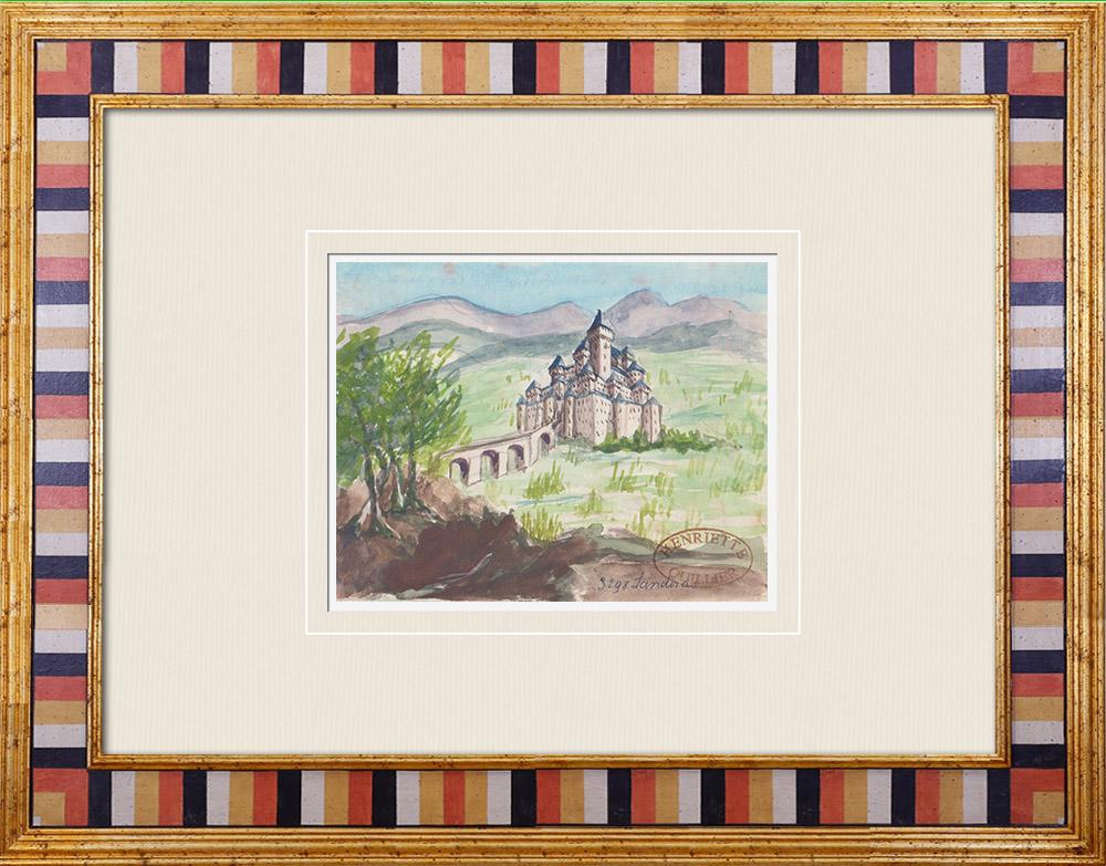 Gravures Anciennes & Dessins | Château imaginaire - Landiras - Gironde - France (Henriette Quillier) | Aquarelle | 1960
