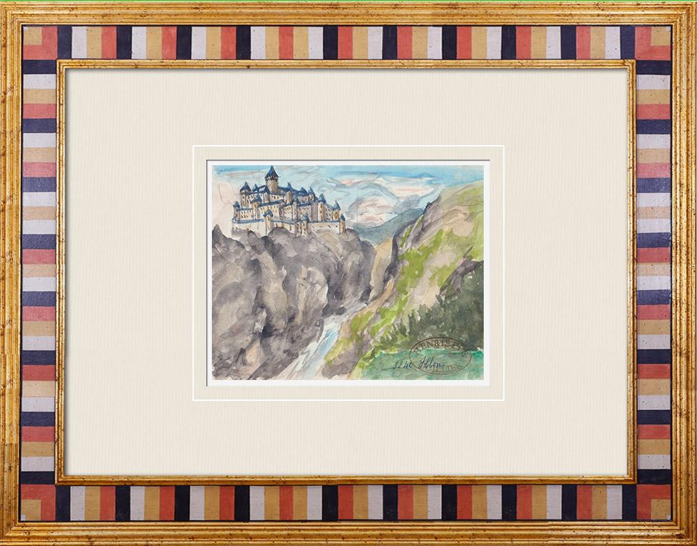 Gravures Anciennes & Dessins | Château imaginaire - Ville-sur-Illon - Vosges - France (Henriette Quillier) | Aquarelle | 1960