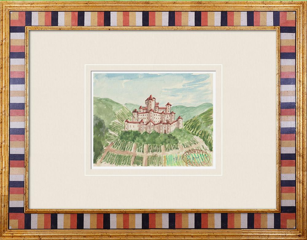 Gravures Anciennes & Dessins | Château imaginaire - Lugos - Gironde - France (Henriette Quillier) | Aquarelle | 1960