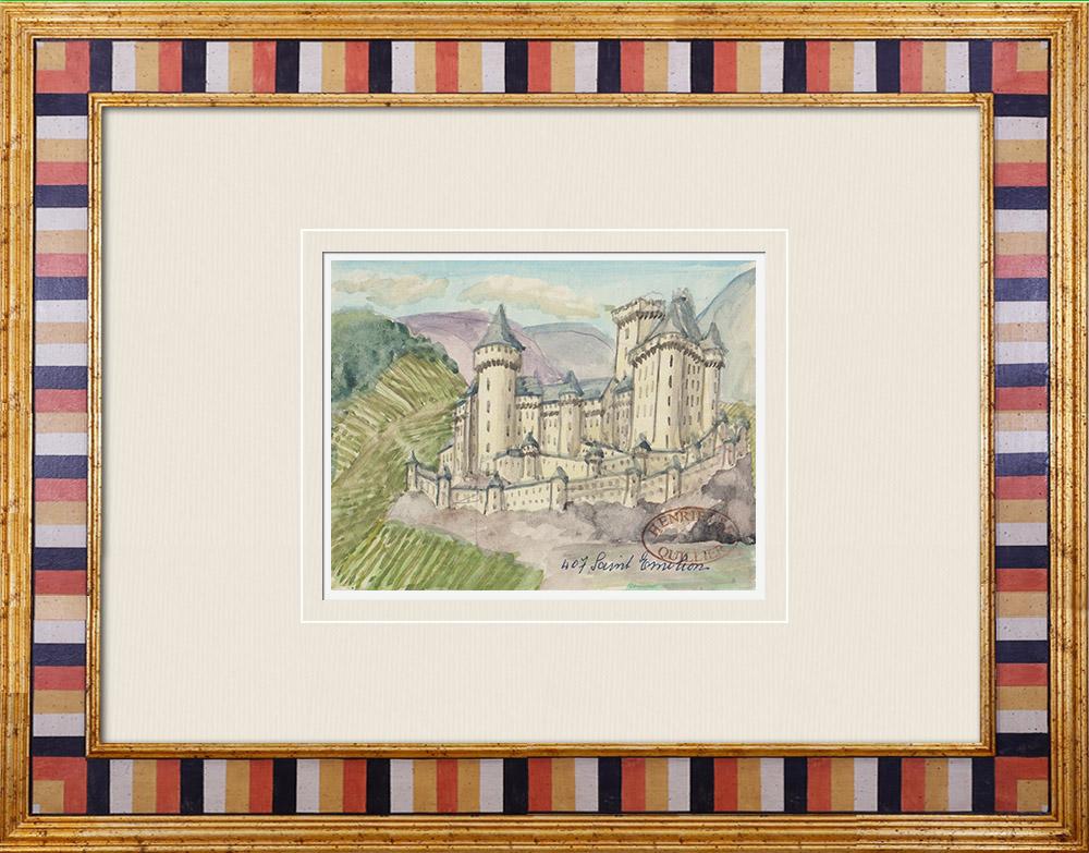 Gravures Anciennes & Dessins | Château imaginaire - Saint-Émilion - Tour du Roy - Gironde - France (Henriette Quillier) | Aquarelle | 1960