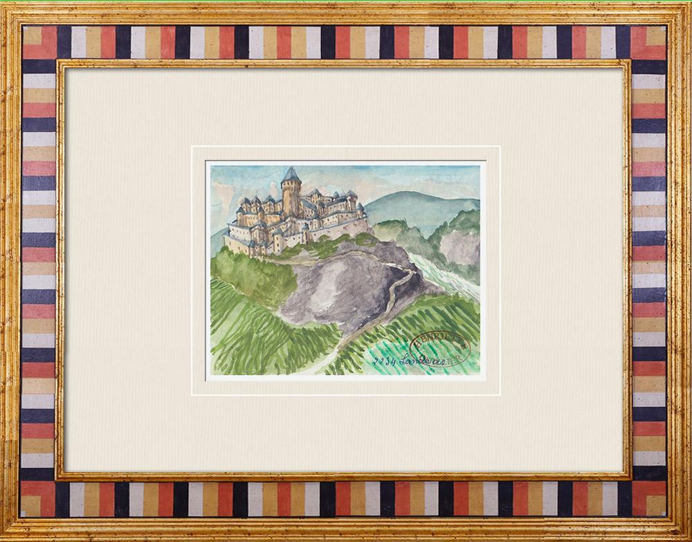 Gravures Anciennes & Dessins | Château imaginaire - Château de Landiras - Gironde - France (Henriette Quillier) | Aquarelle | 1960