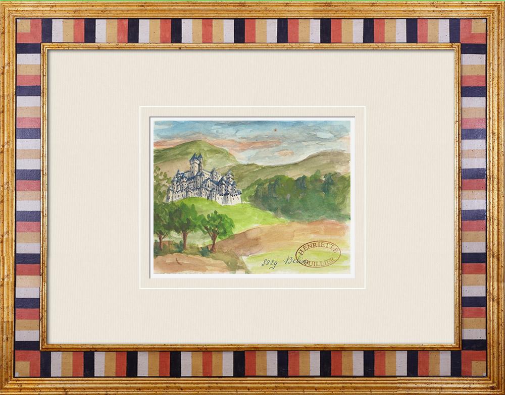 Gravures Anciennes & Dessins | Château imaginaire - Belin-Béliet - Butte d'Aliénor - Vieux château - Gironde - France (Henriette Quillier) | Aquarelle | 1960