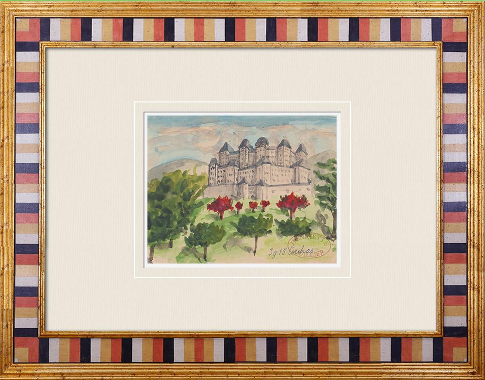 Gravures Anciennes & Dessins | Château imaginaire - Coutras - Villa romaine - Gironde - France (Henriette Quillier) | Aquarelle | 1960