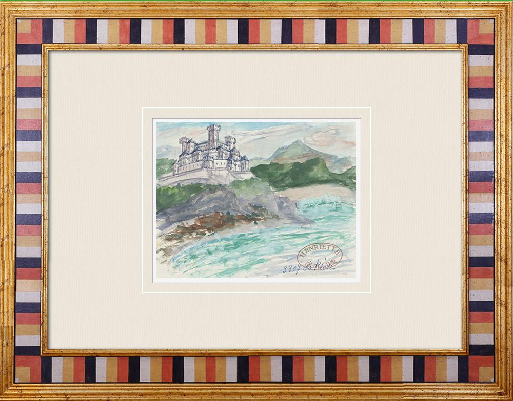 Gravures Anciennes & Dessins   Château imaginaire - Château des Quat'Sos - La Réole - Gironde - France (Henriette Quillier)   Aquarelle   1960