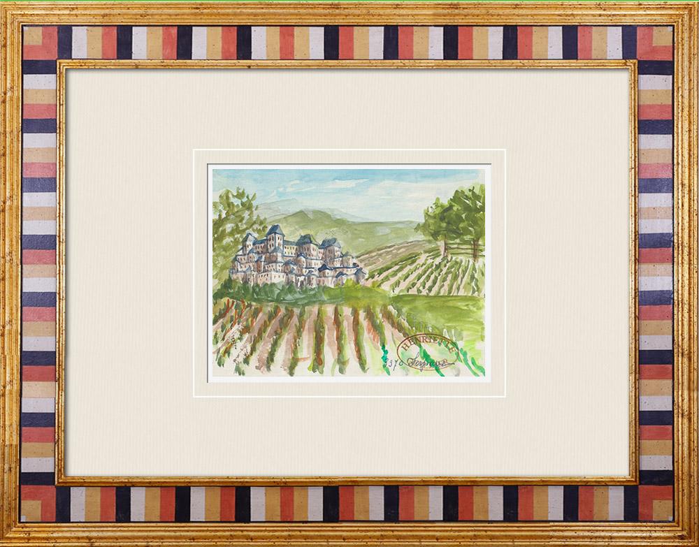 Gravures Anciennes & Dessins   Château imaginaire - Tour de l'Honneur - Vestige du château - Lesparre-Médoc - Gironde - France (Henriette Quillier)   Aquarelle   1960