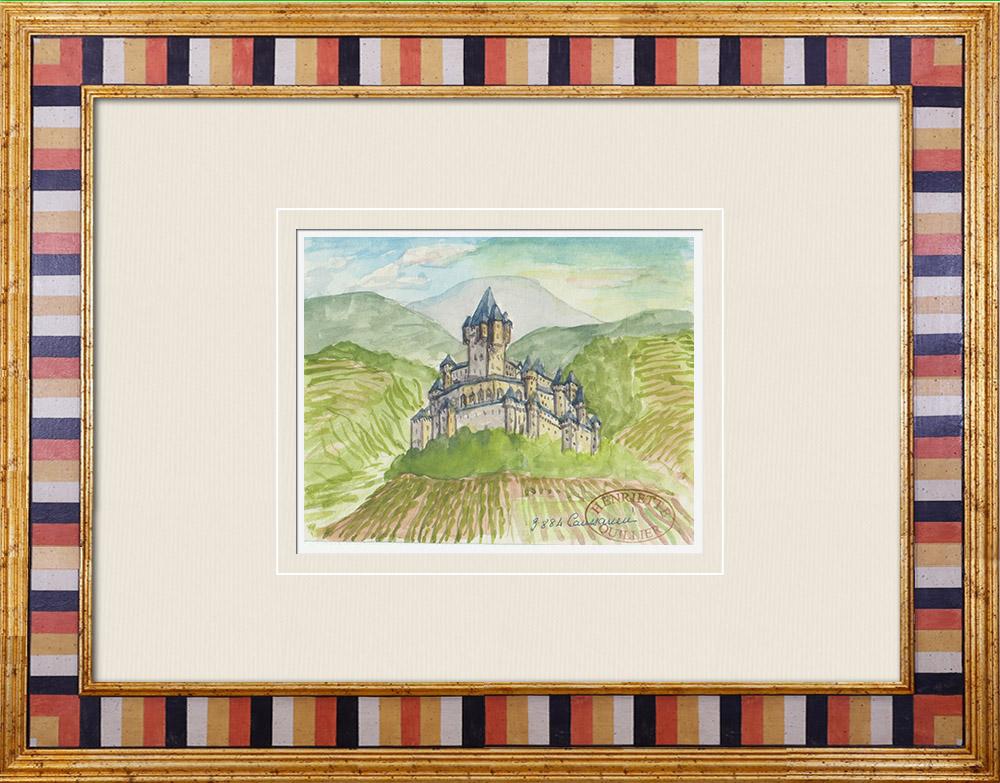 Gravures Anciennes & Dessins   Château imaginaire - Moulin de Caussarieu - Gironde - France (Henriette Quillier)   Aquarelle   1960