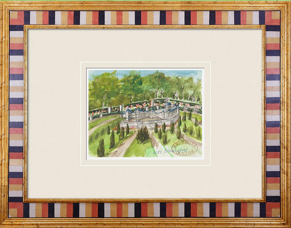 Gravures Anciennes & Dessins | Château imaginaire - Donjon de Maurepas - Ile de France (Henriette Quillier) | Aquarelle | 1960