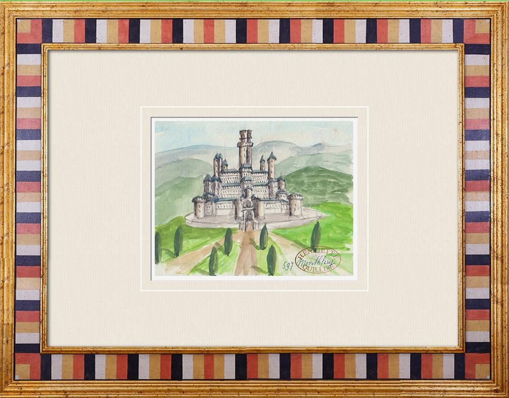 Gravures Anciennes & Dessins   Château imaginaire - Château fort de Montlhéry - Donjon - Ile de France (Henriette Quillier)   Aquarelle   1960