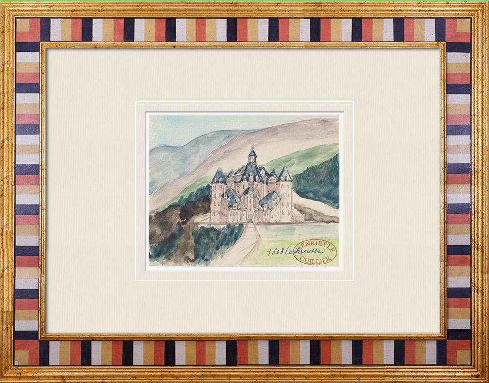 Gravures Anciennes & Dessins | Château imaginaire - Caderousse - Vaucluse - France (Henriette Quillier) | Aquarelle | 1960