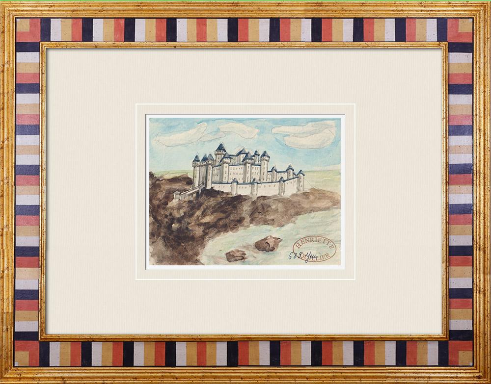 Gravures Anciennes & Dessins | Château imaginaire - L'Île-d'Yeu - Vendée - France (Henriette Quillier) | Aquarelle | 1960