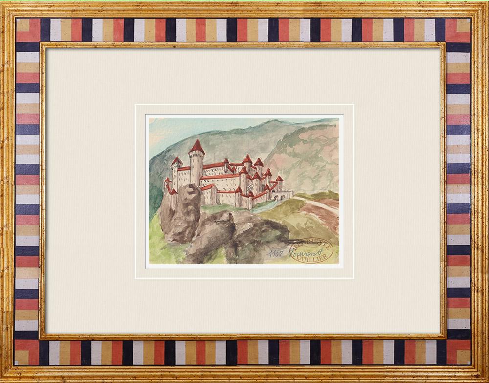 Gravures Anciennes & Dessins   Château imaginaire - Vouvant - Vendée - France (Henriette Quillier)   Aquarelle   1960
