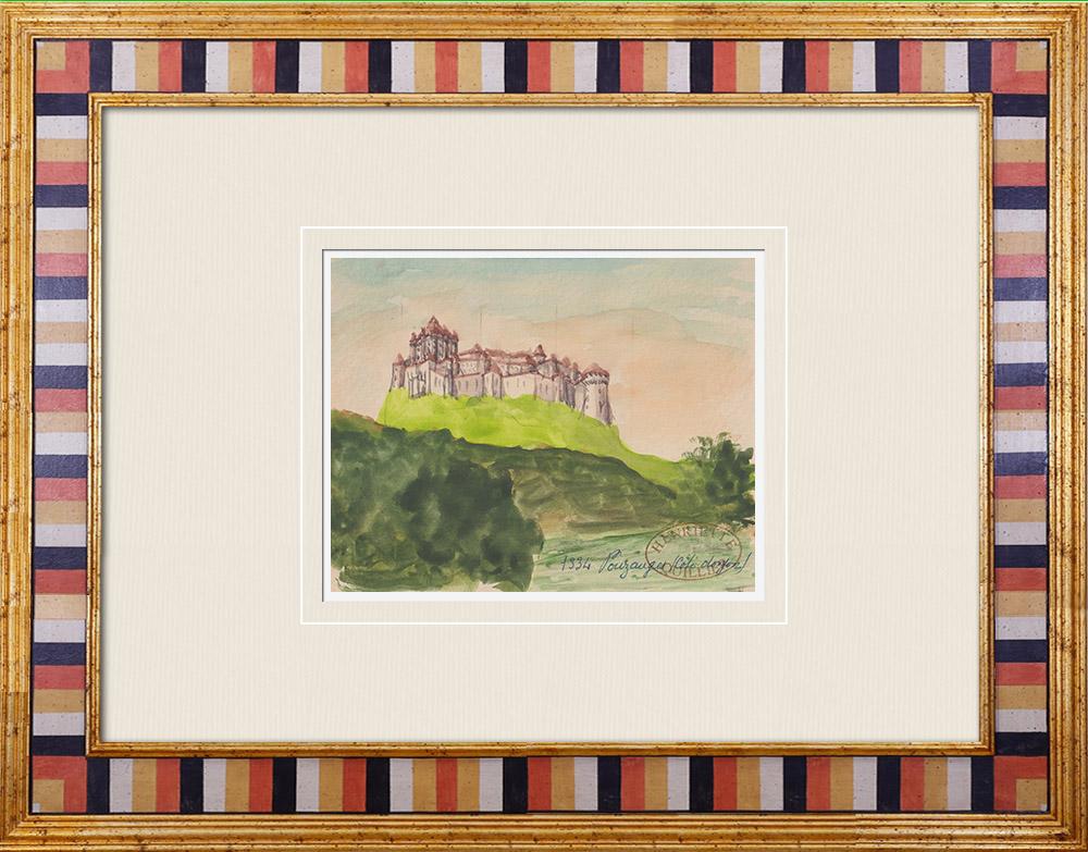 Gravures Anciennes & Dessins   Château imaginaire - Château de Pouzauges - Vendée - France (Henriette Quillier)   Aquarelle   1960