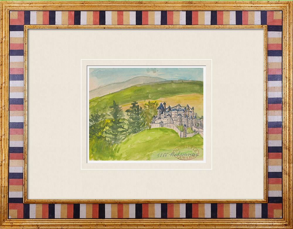 Gravures Anciennes & Dessins | Château imaginaire - Rocheservière - Vendée - France (Henriette Quillier) | Aquarelle | 1960