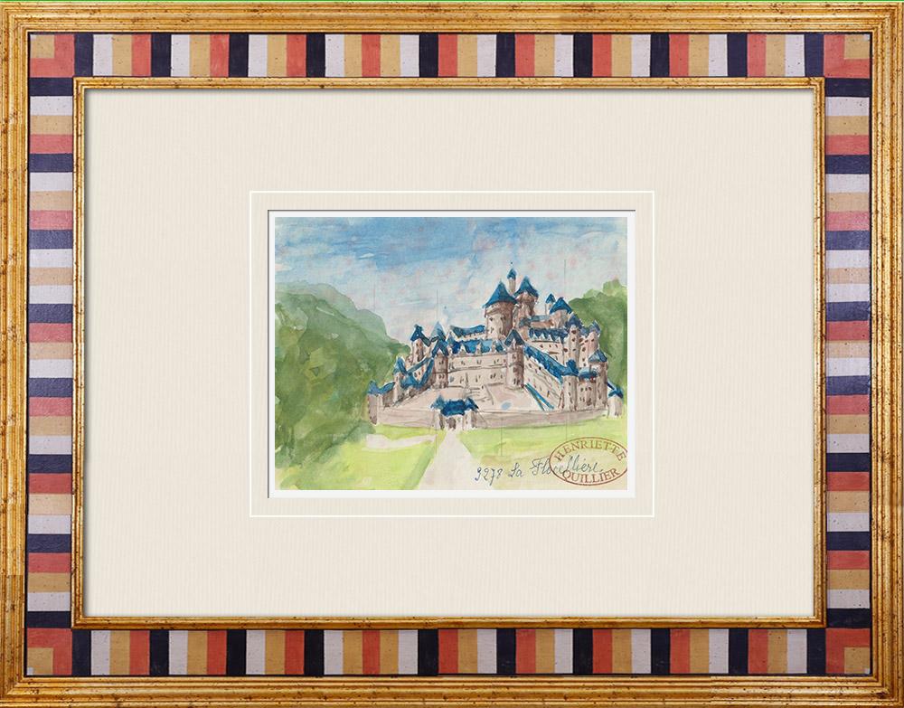 Gravures Anciennes & Dessins   Château imaginaire - Château de La Flocellière - Vendée - France (Henriette Quillier)   Aquarelle   1960