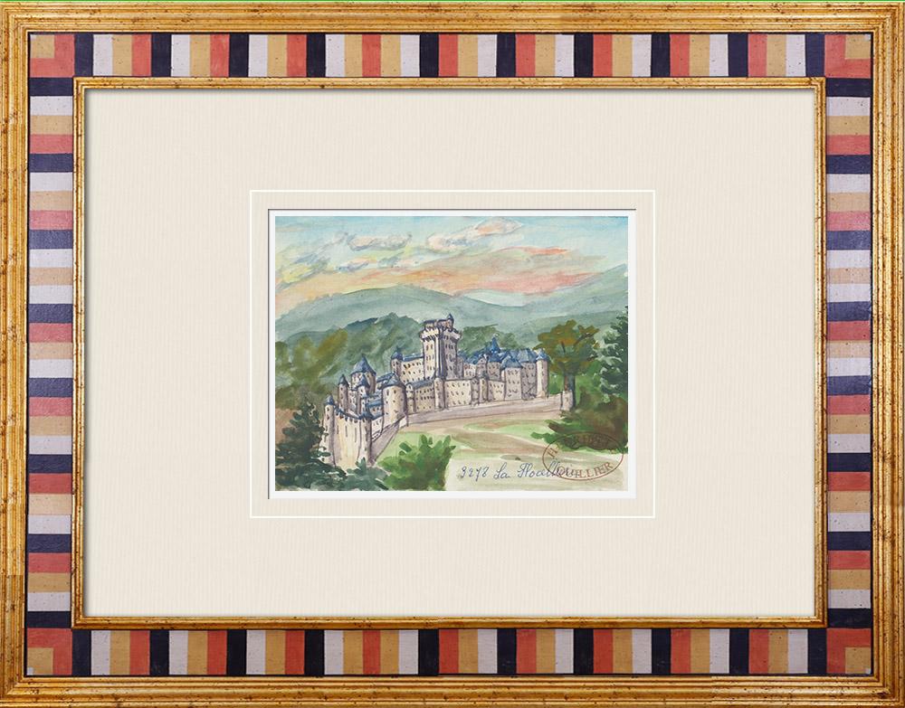 Gravures Anciennes & Dessins | Château imaginaire - Château de La Flocellière - Vendée - France (Henriette Quillier) | Aquarelle | 1960