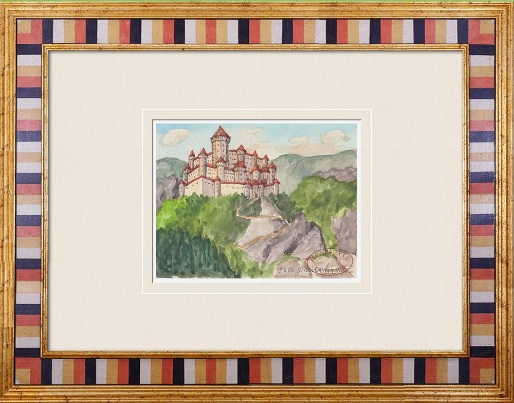 Gravures Anciennes & Dessins   Château imaginaire - Mervent - Vendée - France (Henriette Quillier)   Aquarelle   1960