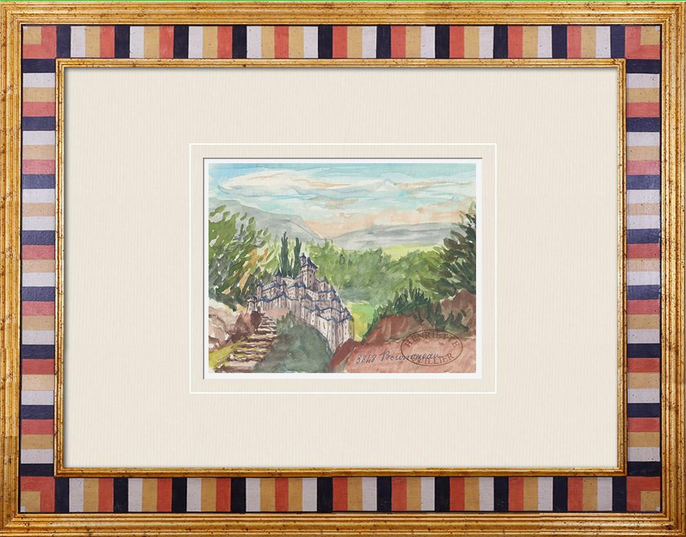 Gravures Anciennes & Dessins | Château imaginaire - Bournezeau - Vendée - France (Henriette Quillier) | Aquarelle | 1960