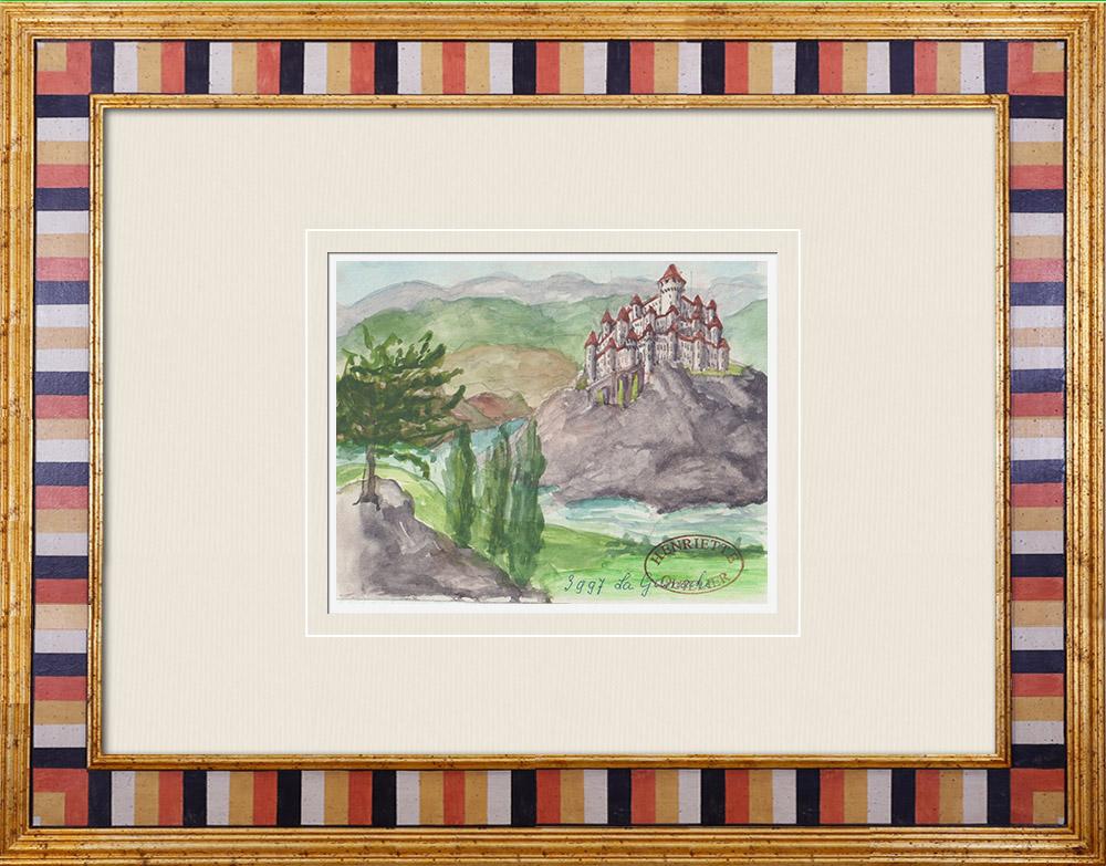 Gravures Anciennes & Dessins | Château imaginaire - La Ganache - Les Epesses - Vendée - France (Henriette Quillier) | Aquarelle | 1960