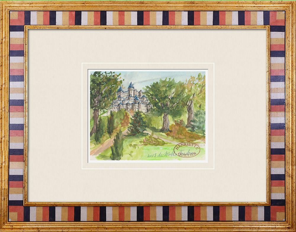 Gravures Anciennes & Dessins | Château imaginaire - La Mothe-Freslon - Le Champ-Saint-Père - Vendée - France (Henriette Quillier) | Aquarelle | 1960