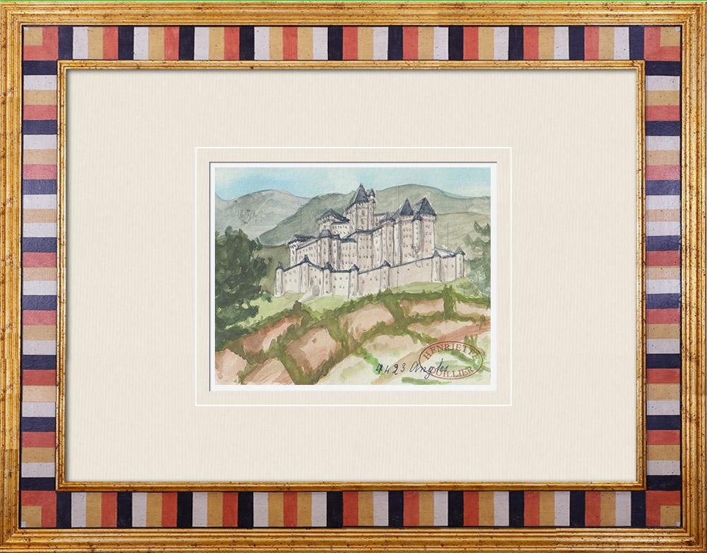 Gravures Anciennes & Dessins | Château imaginaire - Angles - Vendée - France (Henriette Quillier) | Aquarelle | 1960