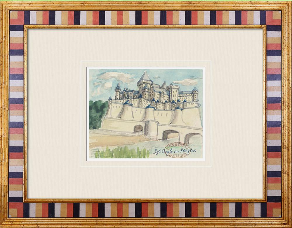 Gravures Anciennes & Dessins | Château imaginaire - Château d'Angles-sur-l'Anglin - Vienne - France (Henriette Quillier) | Aquarelle | 1960