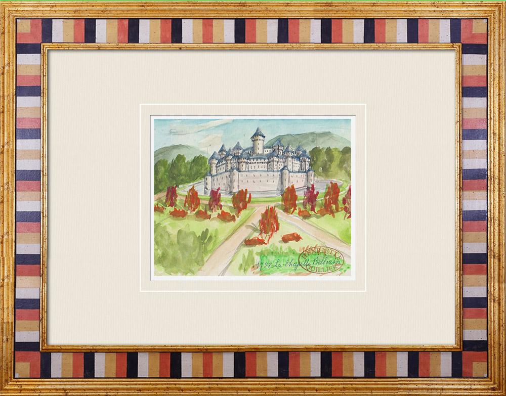 Gravures Anciennes & Dessins | Château imaginaire - Château de La Chapelle Bellouin - Vienne - France (Henriette Quillier) | Aquarelle | 1960