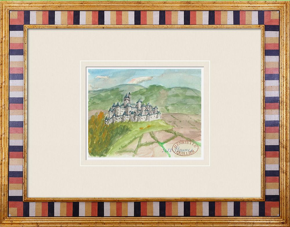 Antique Prints & Drawings | Imaginary Castle - Beuxes - Vienne - France (Henriette Quillier) | Watercolor painting | 1960