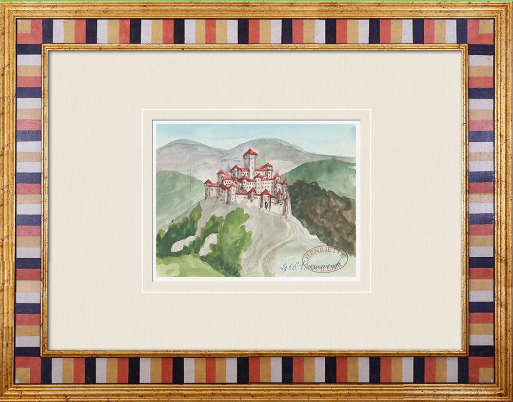 Antique Prints & Drawings | Imaginary Castle - Beaumont - Vienne - France (Henriette Quillier) | Watercolor painting | 1960