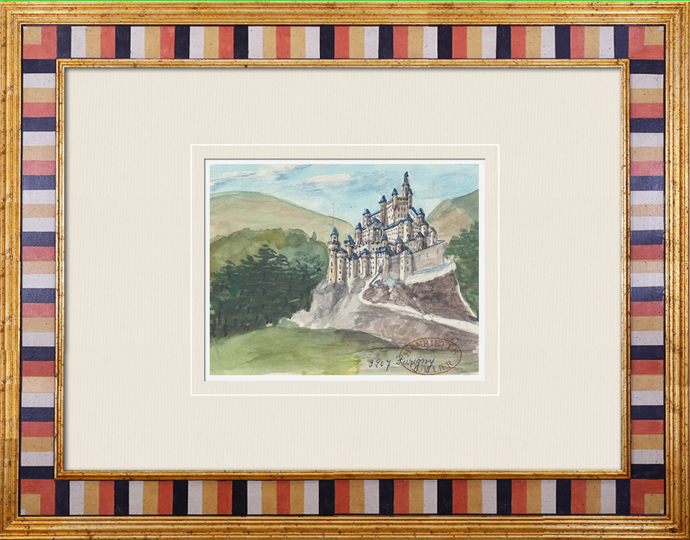 Gravures Anciennes & Dessins   Château imaginaire - Château de Furigny - Vienne - France (Henriette Quillier)   Aquarelle   1960