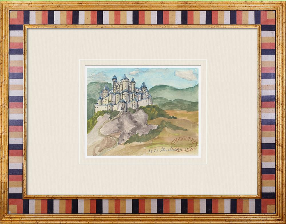 Antique Prints & Drawings | Imaginary Castle - Mirebeau - Vienne - France (Henriette Quillier) | Watercolor painting | 1960