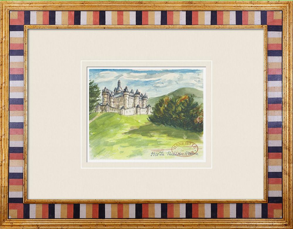 Gravures Anciennes & Dessins | Château imaginaire - Chateau de La Roche du Maine - Vienne - France (Henriette Quillier) | Aquarelle | 1960